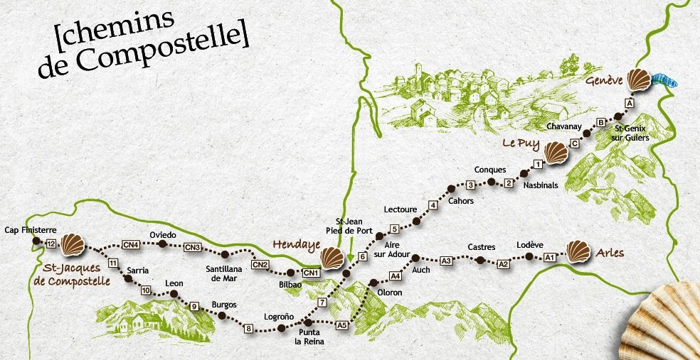 Nos plus beaux voyages en europe compostelle gr65 - Saint jean pied de port saint jacques de compostelle distance ...
